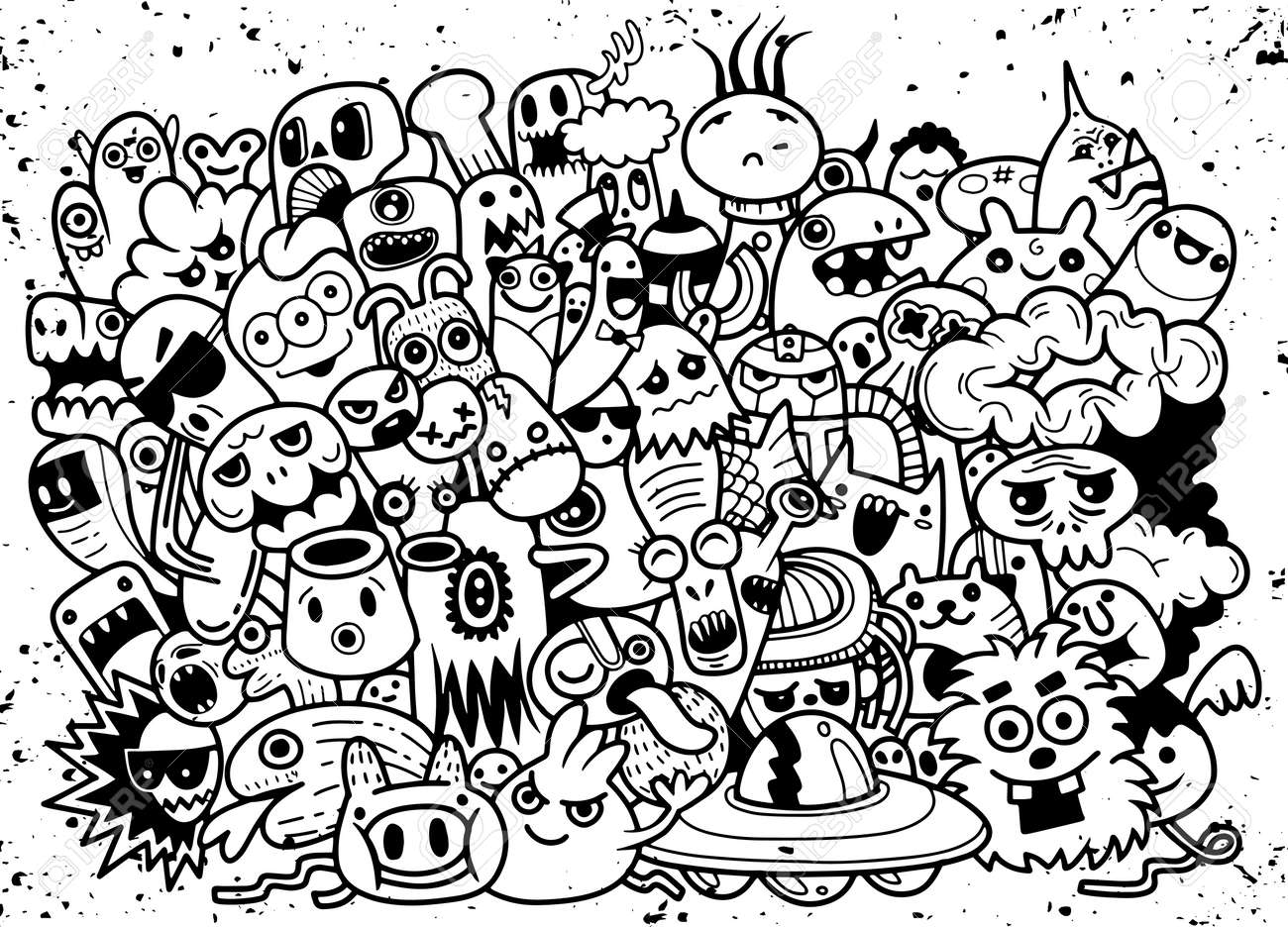 Funny monsters pattern for coloring book. Black and white background. Vector illustration - 102545395
