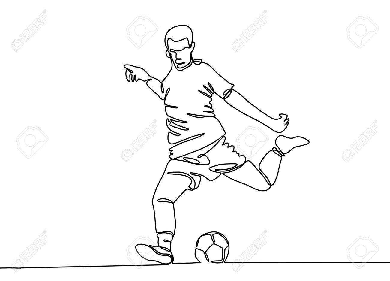 Continuous line drawing. Illustration shows a football player kicks the ball. Soccer. Vector illustration - 103291457