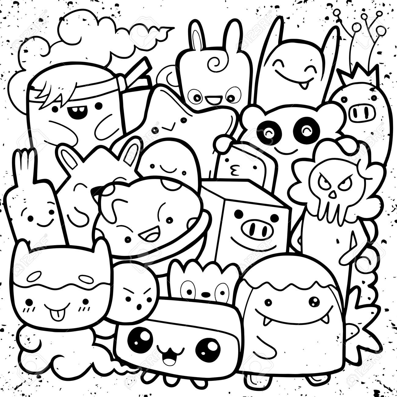 Funny monsters ,Cute Monster pattern for coloring book. Black..