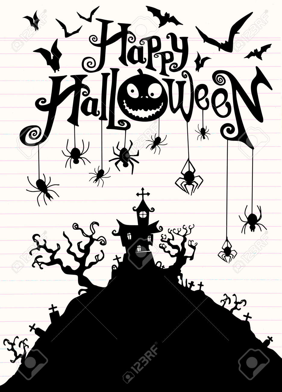 Halloween Night Background With Pumpkin Haunted House Flyer Royalty Free Cliparts Vectors And Stock Illustration Image 110264483