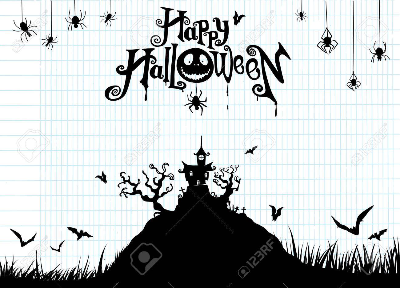 Haunted House Template | Halloween Night Background With Pumpkin Haunted House Flyer Or