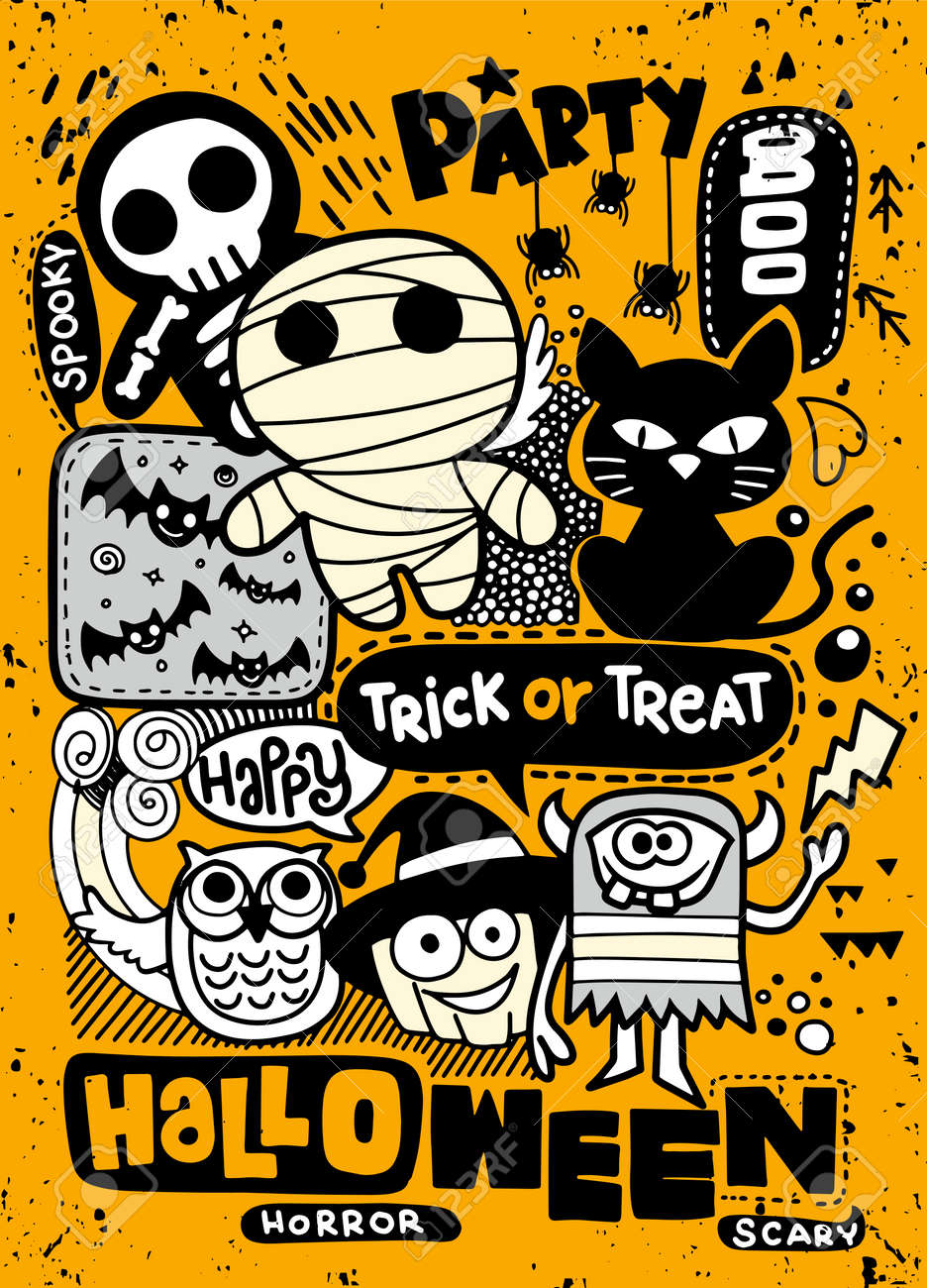 Halloween Party Invitation Card Cute Pumpkin Ghosts Kids And