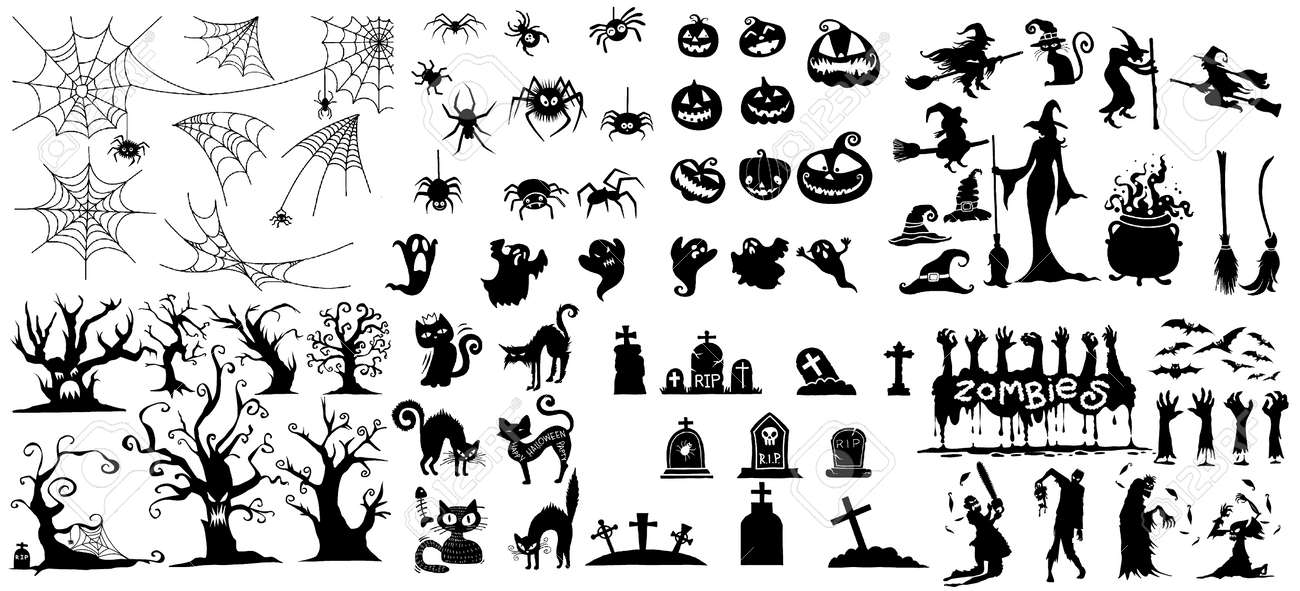 Collection Of Halloween Silhouettes Icon And Character Witch