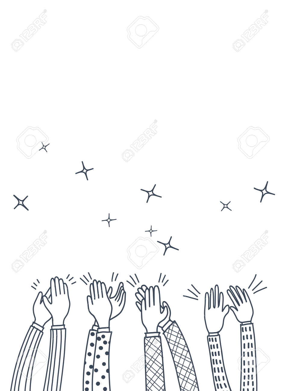 Human hands clapping ovation. doodle style ,vector illustration - 110844520