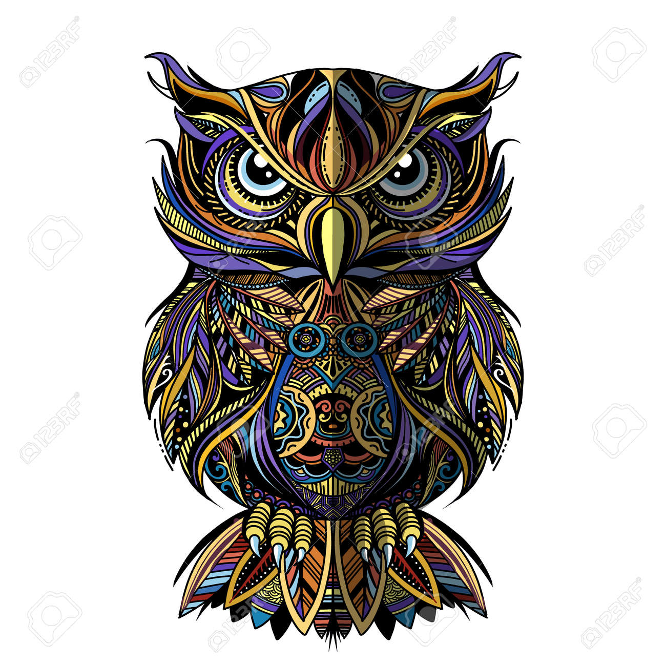 OWL drawn in style. Antistress freehand sketch drawing. Vector illustration. - 119012930