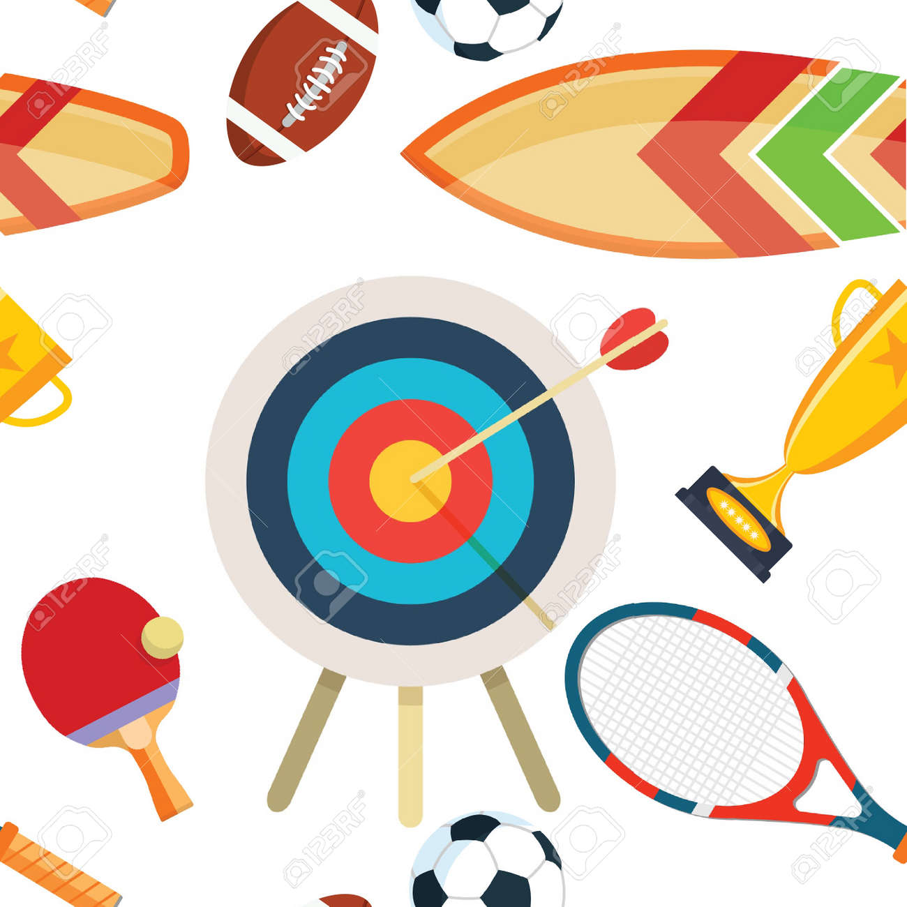Flat Design Sport Concept Sports Equipment Background Flat Objects