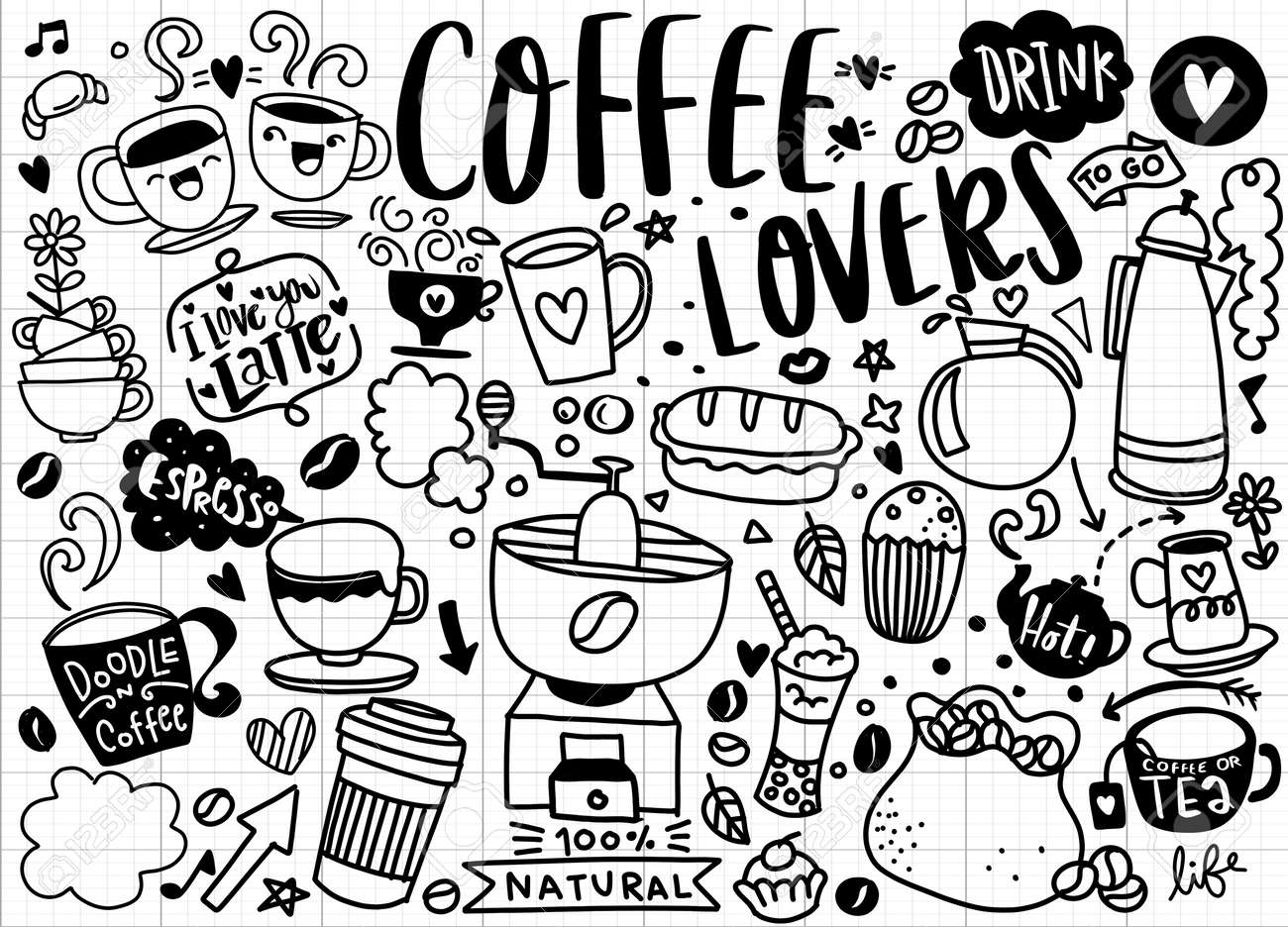 Set of hand drawn coffee and delicious sweets . Vector illustration. Cakes, biscuits, baking, cookie, pastries, donut, ice cream, macaroons. Perfect for dessert menu or food package desig - 135621560