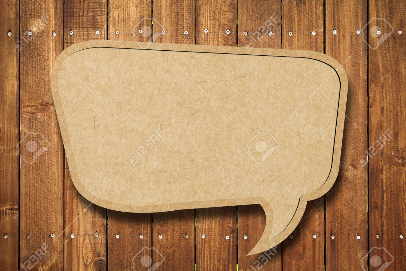 Blank Speech Bubble on wood background Stock Photo - 10025692