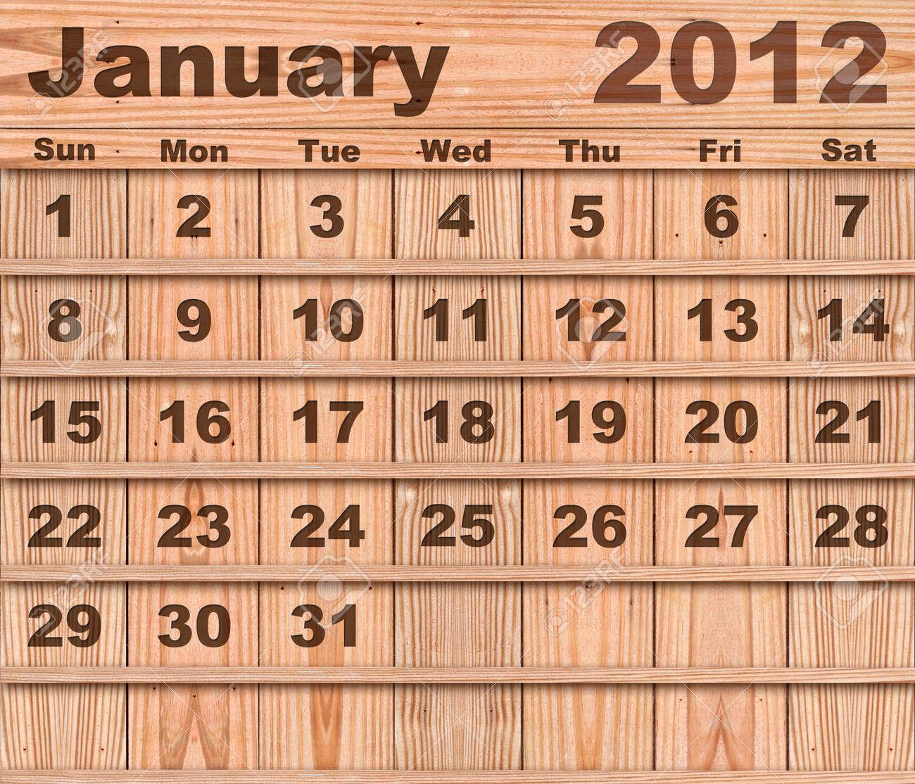Wood calendar Set of Year 2012 January Stock Photo - 10734617