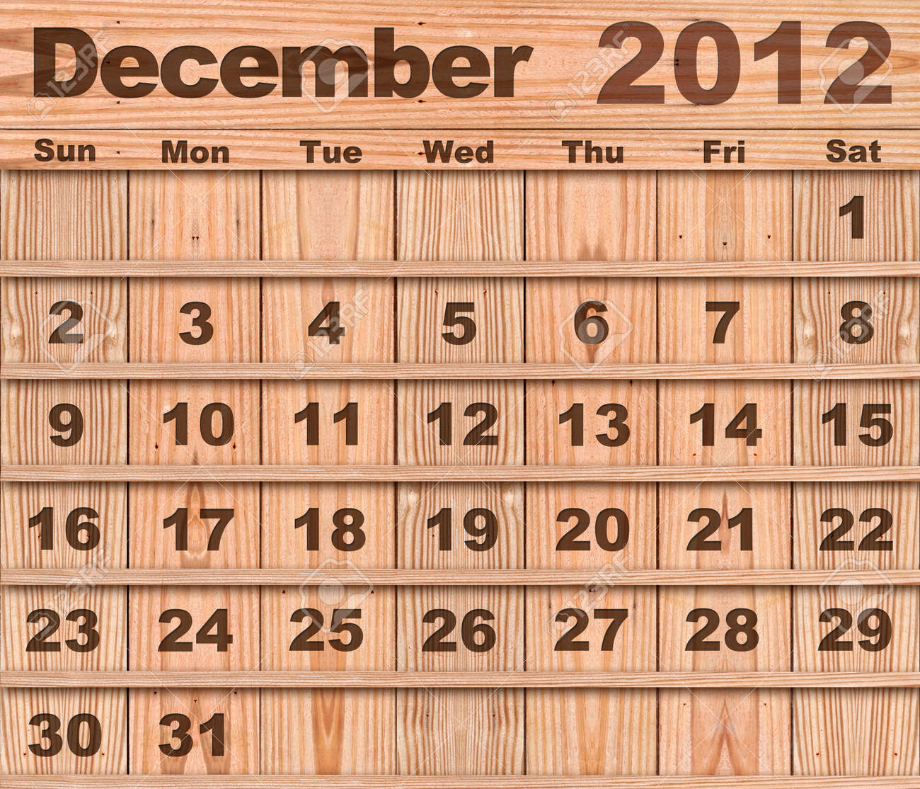Wood calendar Set of Year 2012 December Stock Photo - 10734614