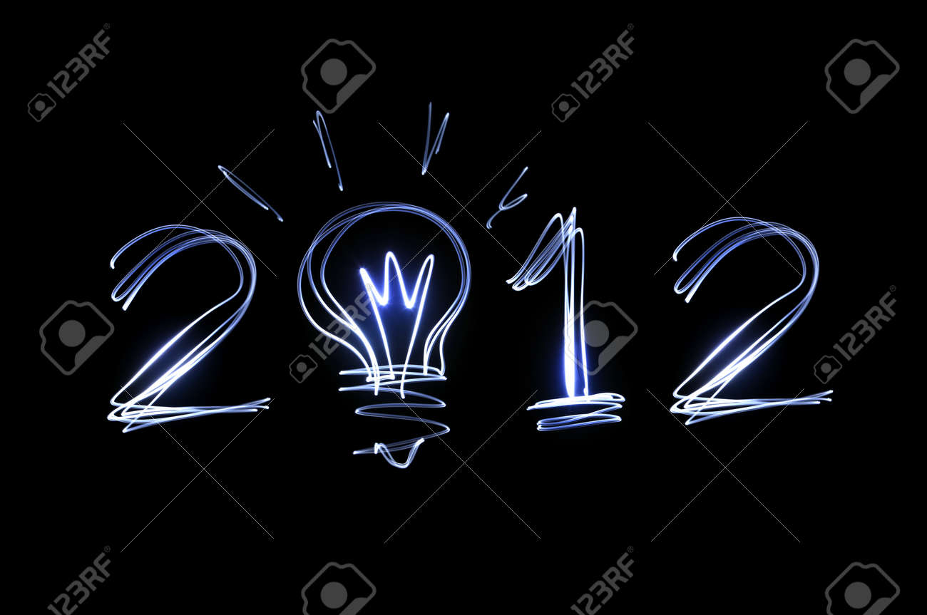 Light Painting 2012 Ideas On Black Background Stock Photo Picture And Royalty Free Image Image 10785640
