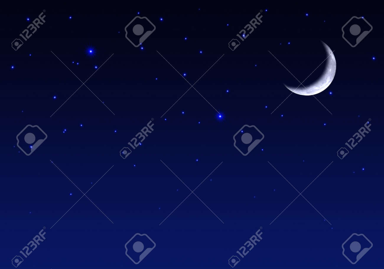 Beautiful Night Sky With Moon And Stars Stock Photo