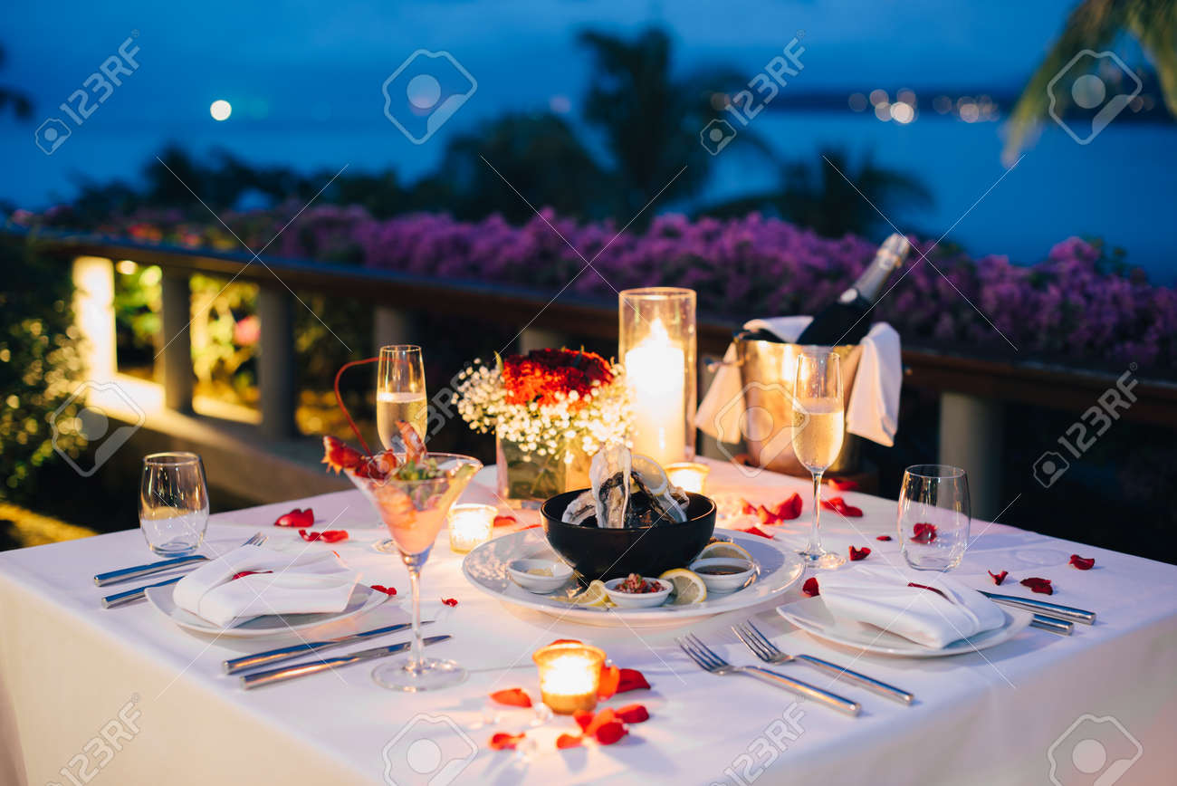 Romantic Candlelight Dinner Table Setup For Valentine S Day With Stock Photo Picture And Royalty Free Image Image 94386277