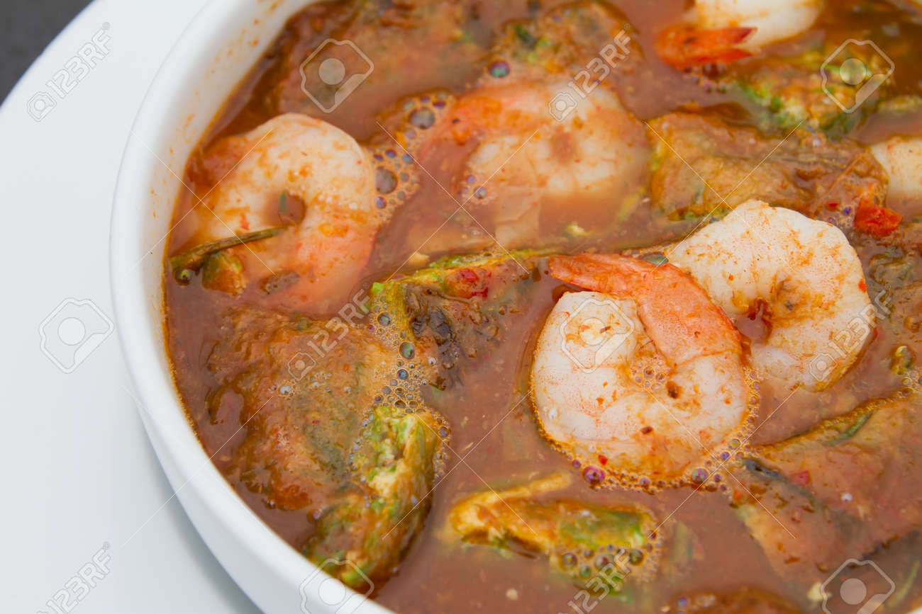 shrimp and omelet spicy soup tropical Thai style Stock Photo - 14856476