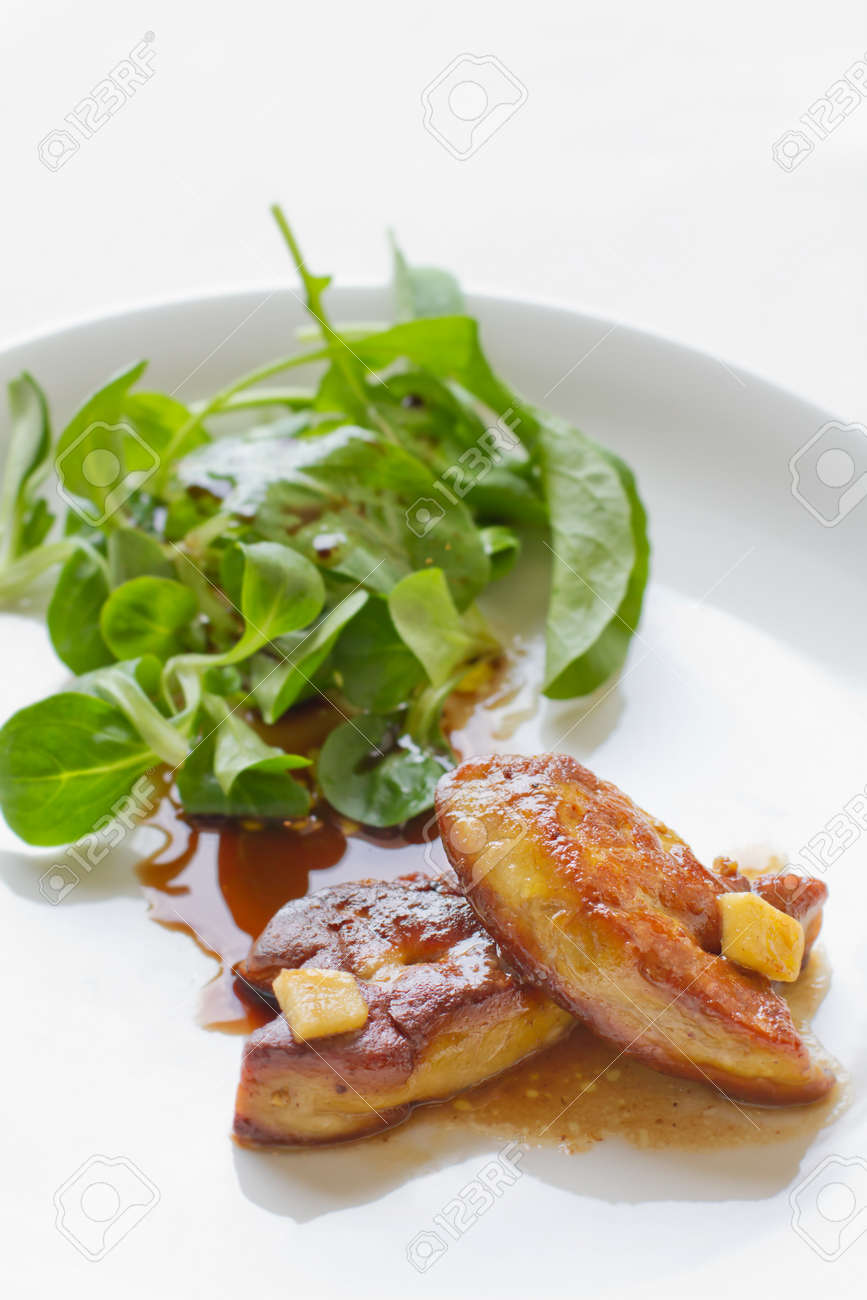 foie gras with salad on white plate Stock Photo - 16646864