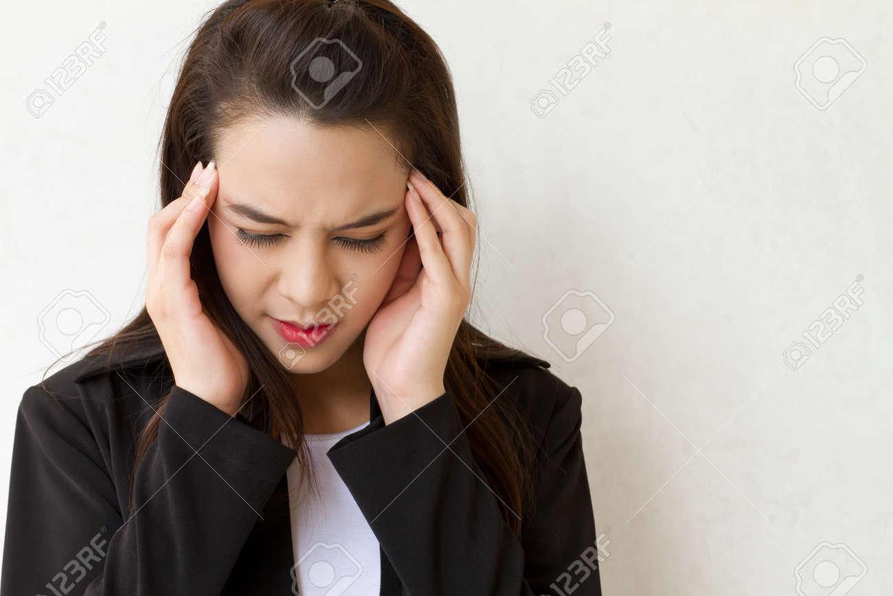 woman with headache, migraine, stress, insomnia, hangover in business executive dress Stock Photo - 20281668