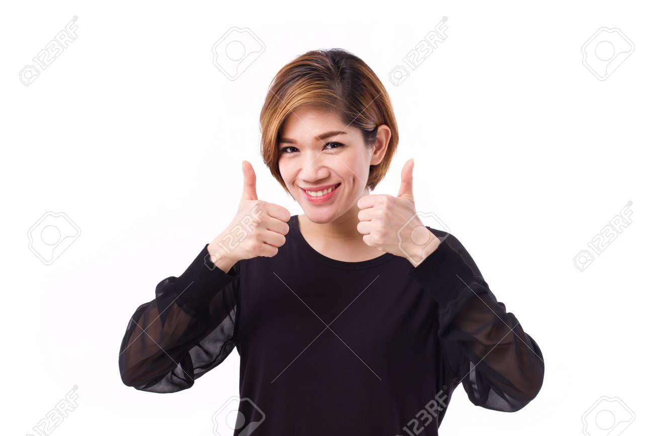 Asian model thumbs