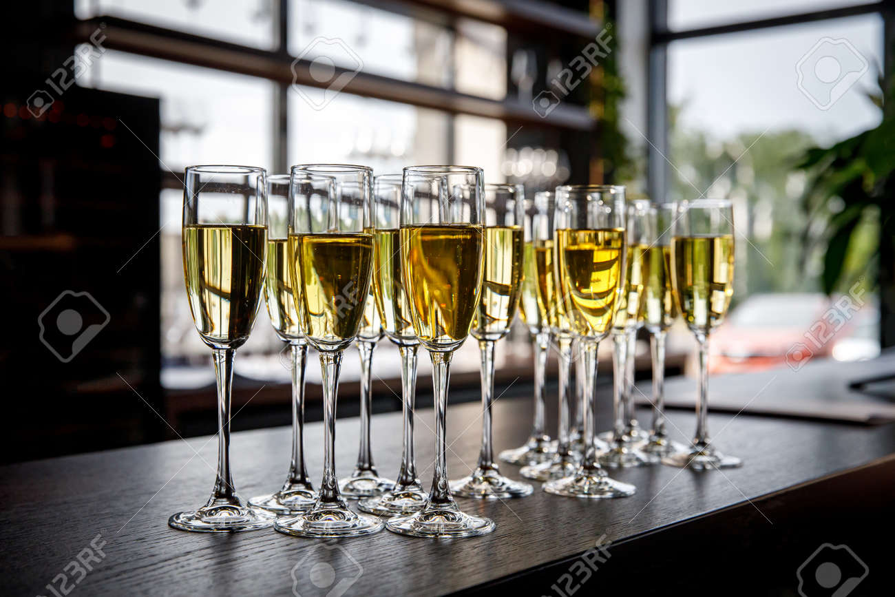 A Lot Of Wine Glasses With A Cool Delicious Champagne Or White Stock Photo Picture And Royalty Free Image Image 129484663