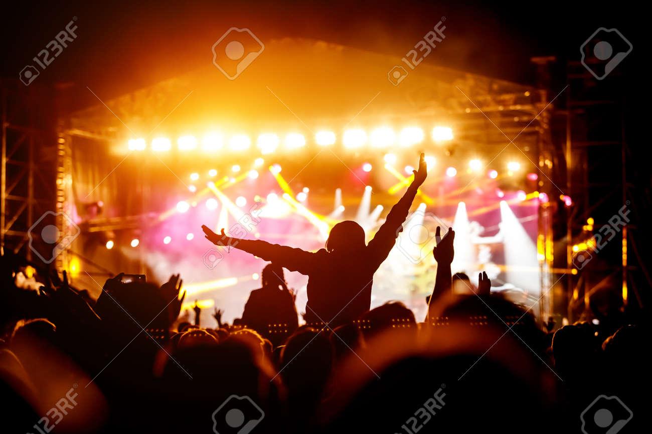 Girl enjoying the music festival, live concert. - 140392359