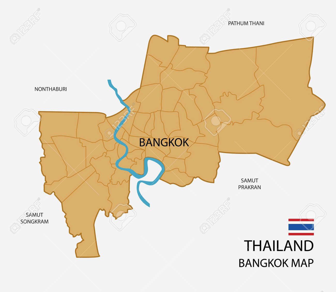 Thailand, Bangkok Province Map Isolated Royalty Free Cliparts ...