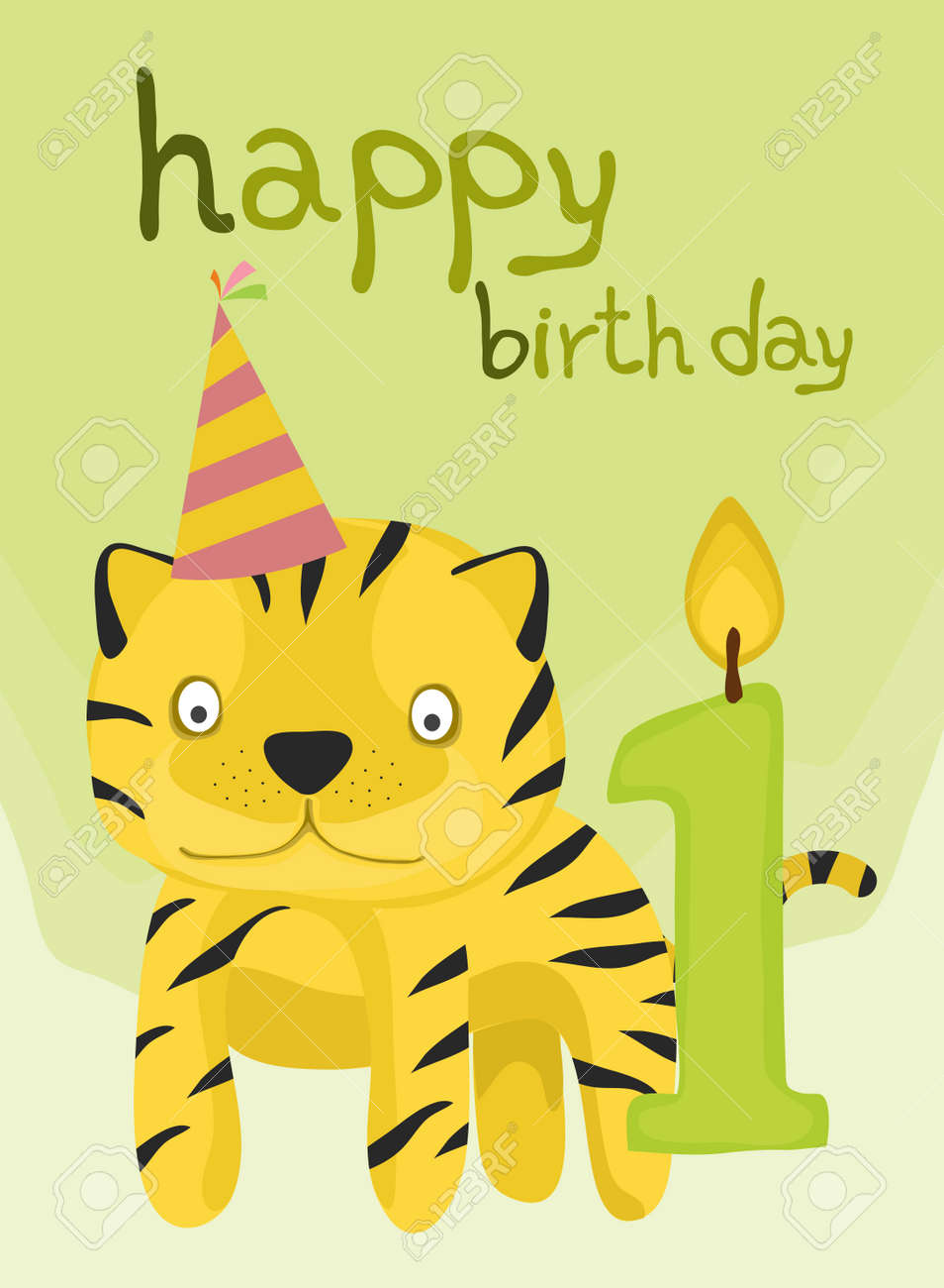 Animal Card Collection Baby Tiger Happy Birthday One Year Old Stock Vector