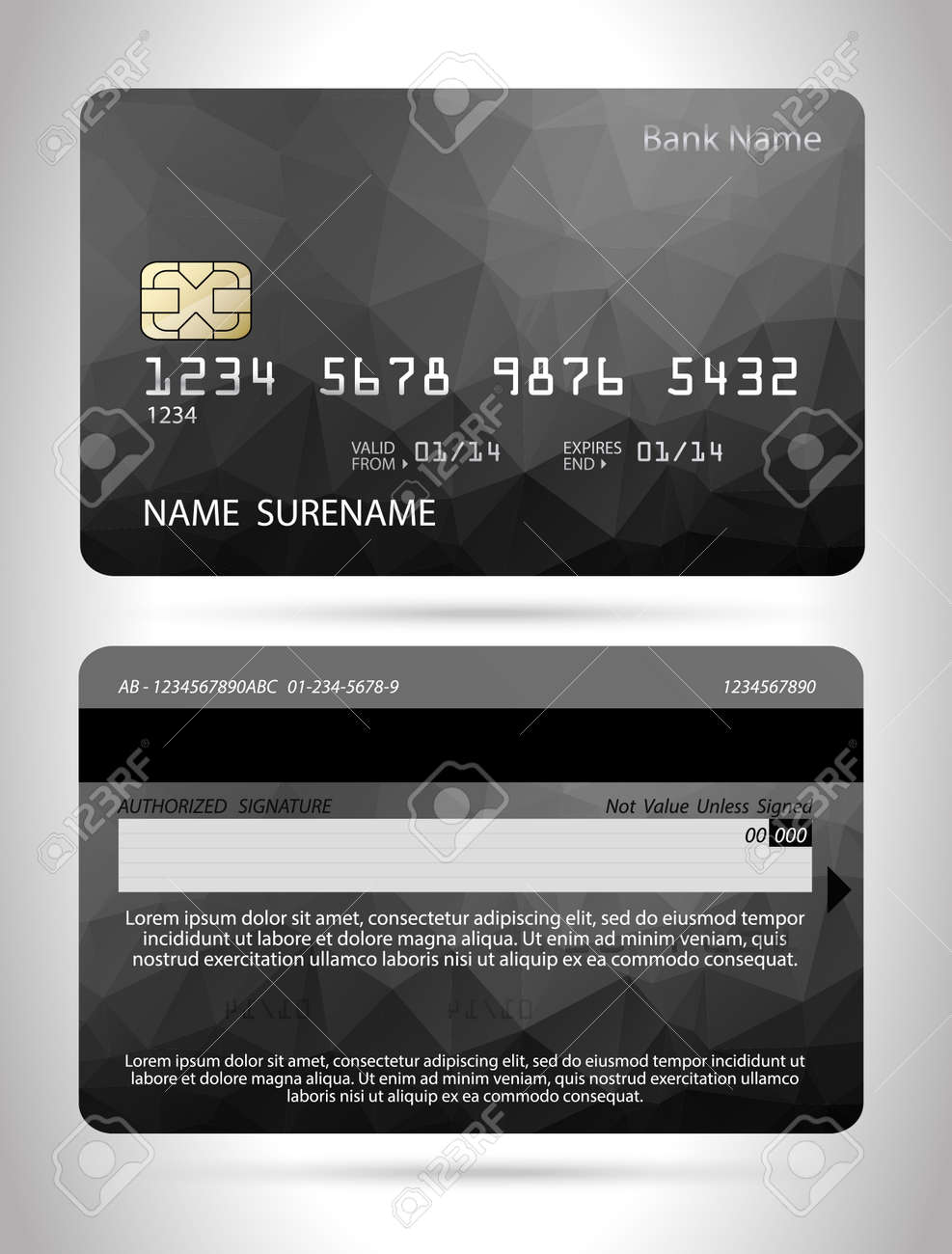 credit card template with polygon design isolated royalty free