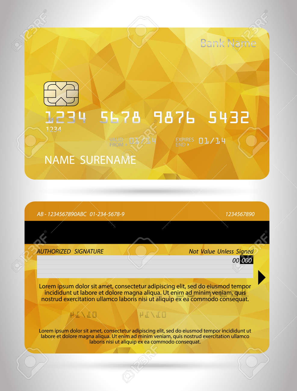 Template Credit Card With Polygon Background, Template Club Card ...