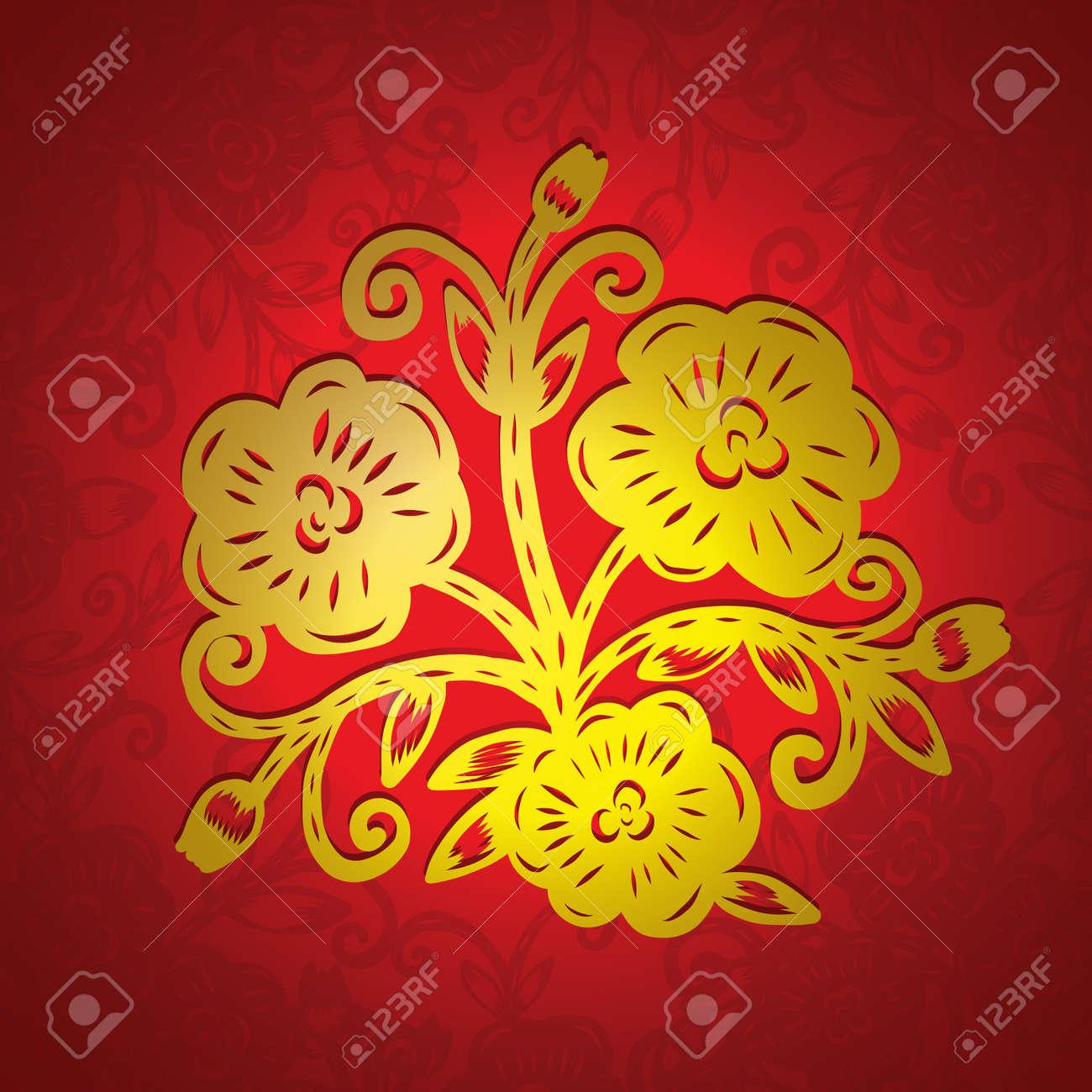 découpage de papier chinois, fleur découpage de papier, illustration