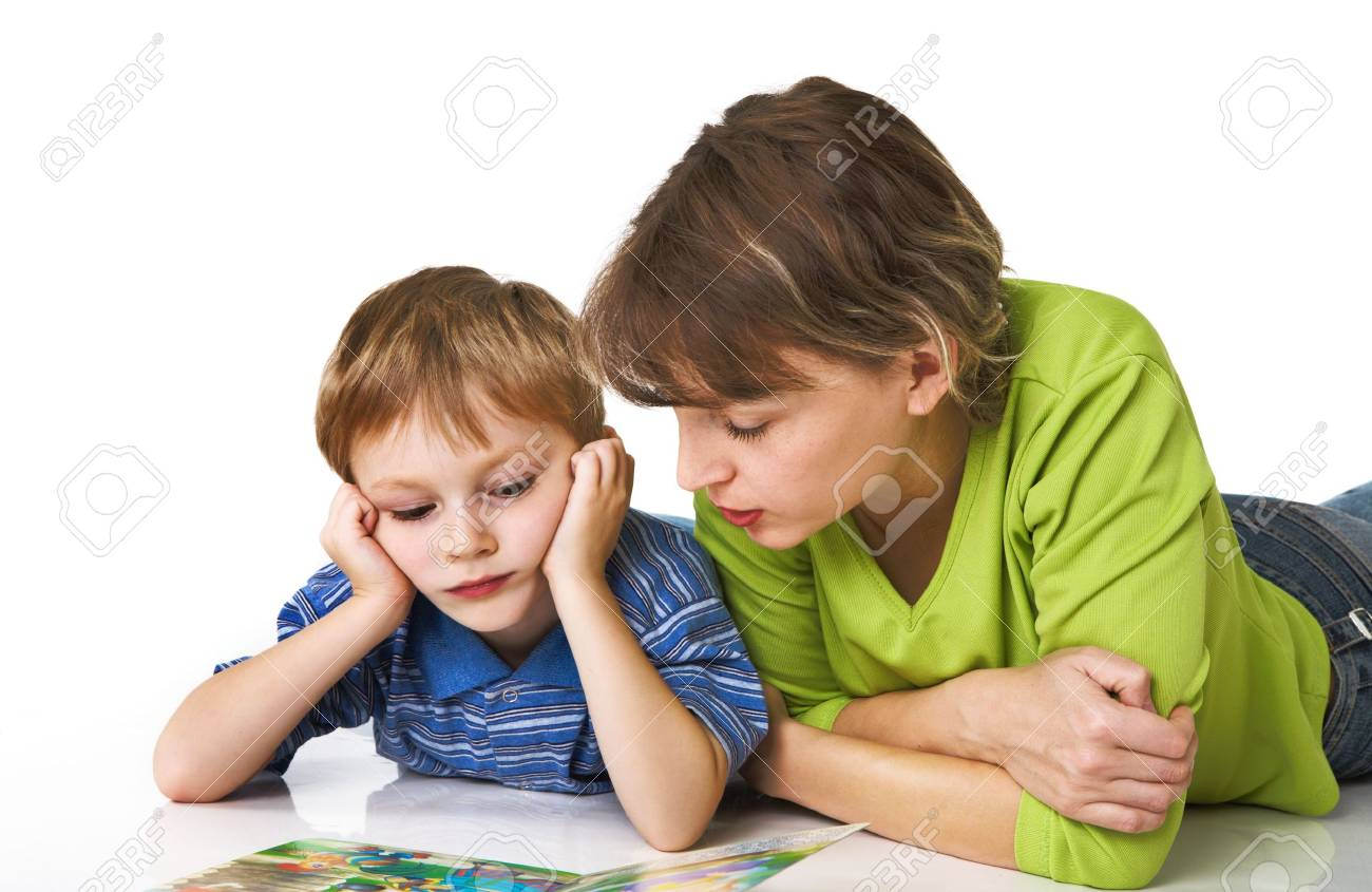 Mother and the son together read the book Stock Photo - 3662831