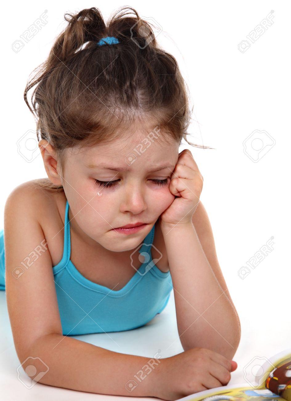 little naked girl Stock Photo - Little girl in tears