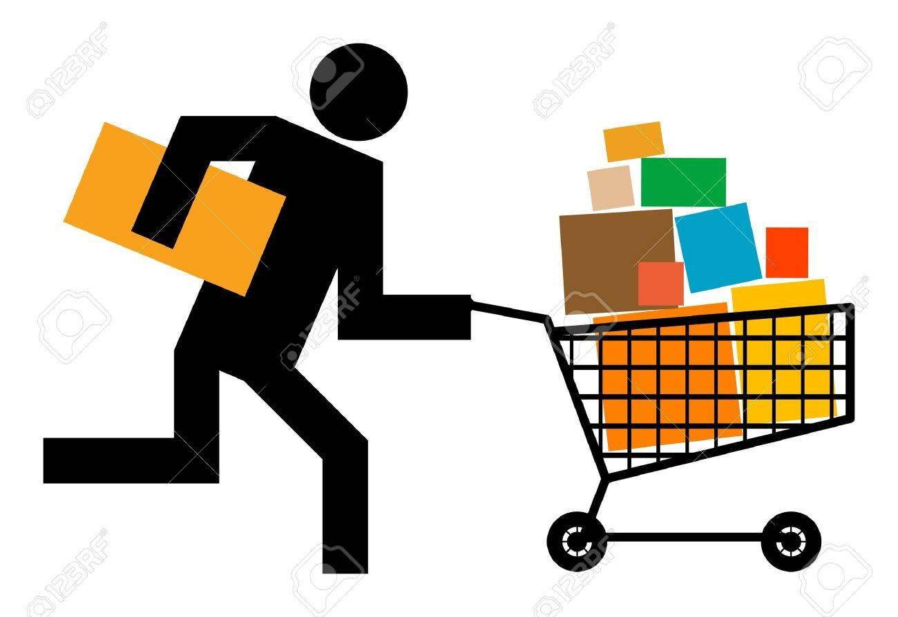 Running man with shopping cart Stock Vector - 13756209