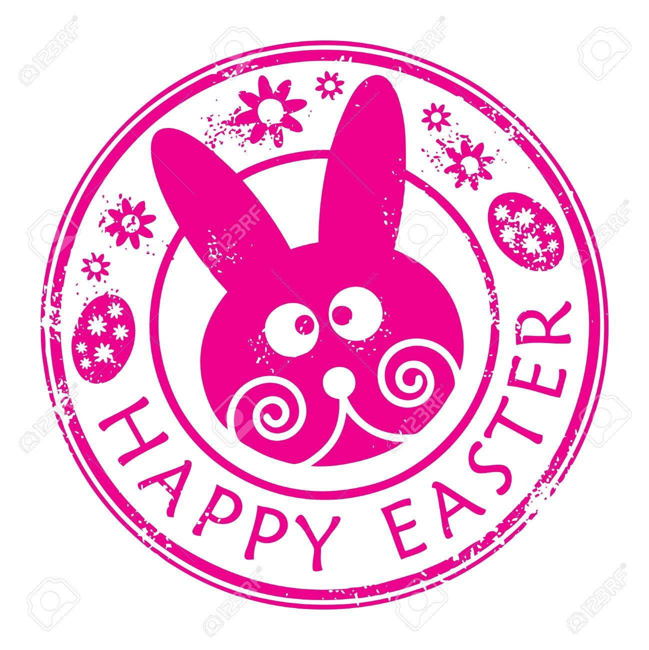 Stamp With Bunny And The Text Happy Easter Written Inside Stock Vector