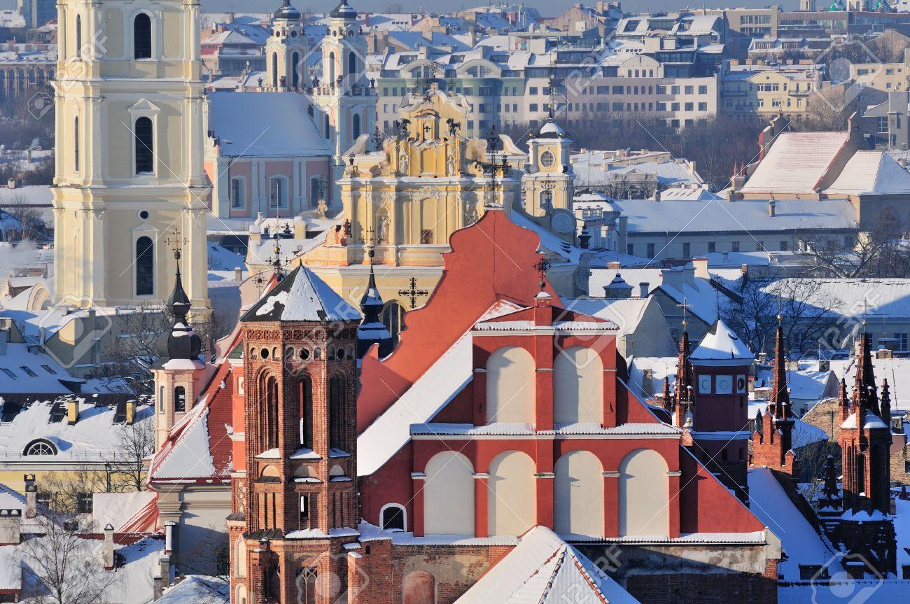 Vilnius old town cityscape, winter morning Stock Photo - 13777289