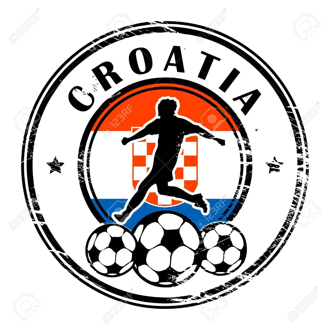 Grunge stamp with football and name Croatia Stock Vector - 13822017