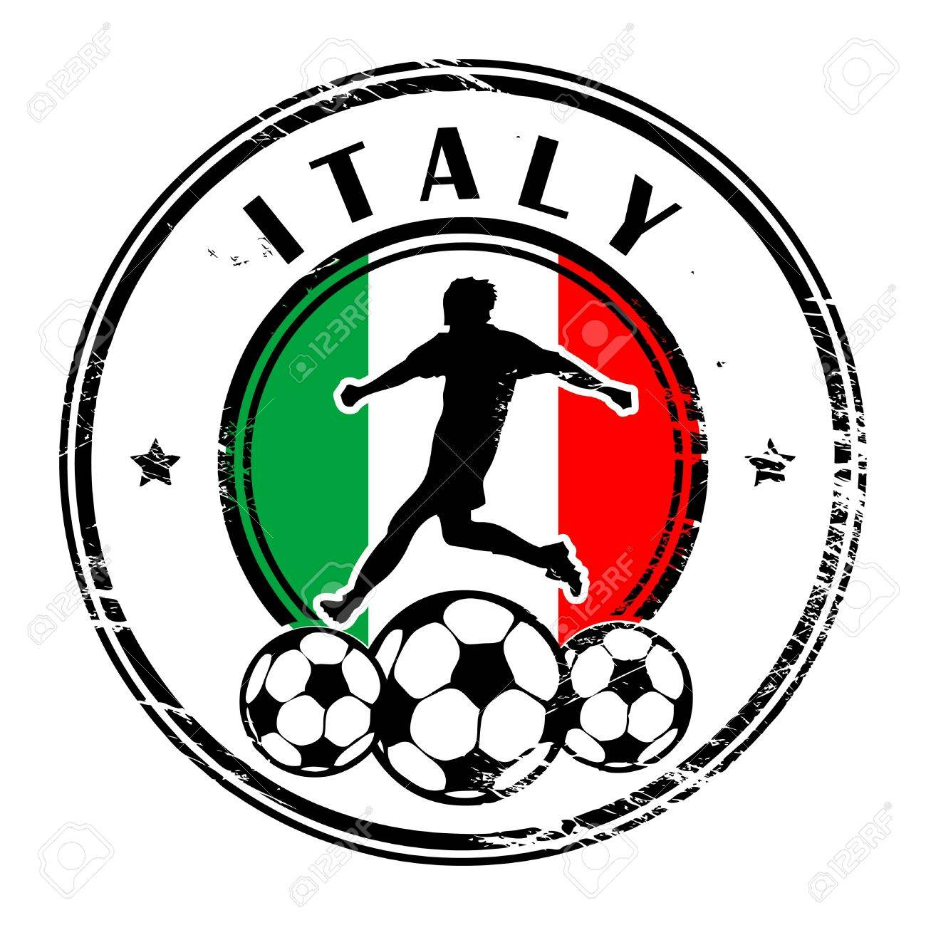 Grunge stamp with football and name Italy Stock Vector - 13821939