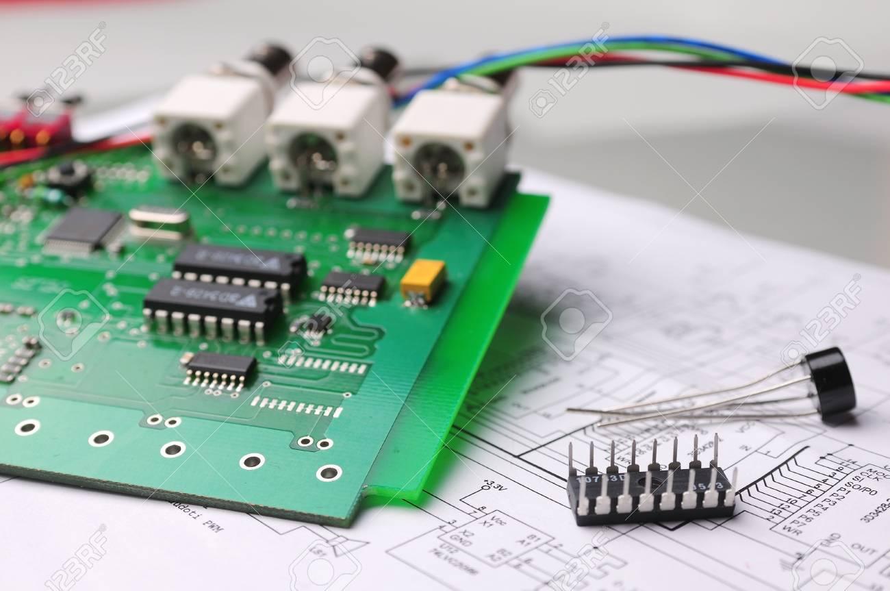 Close-up on a microchip on a scheme background Stock Photo - 13874377