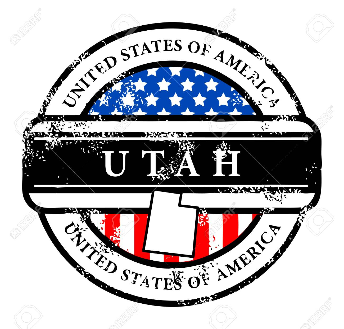 Grunge rubber stamp with name of Utah Stock Vector - 13895920