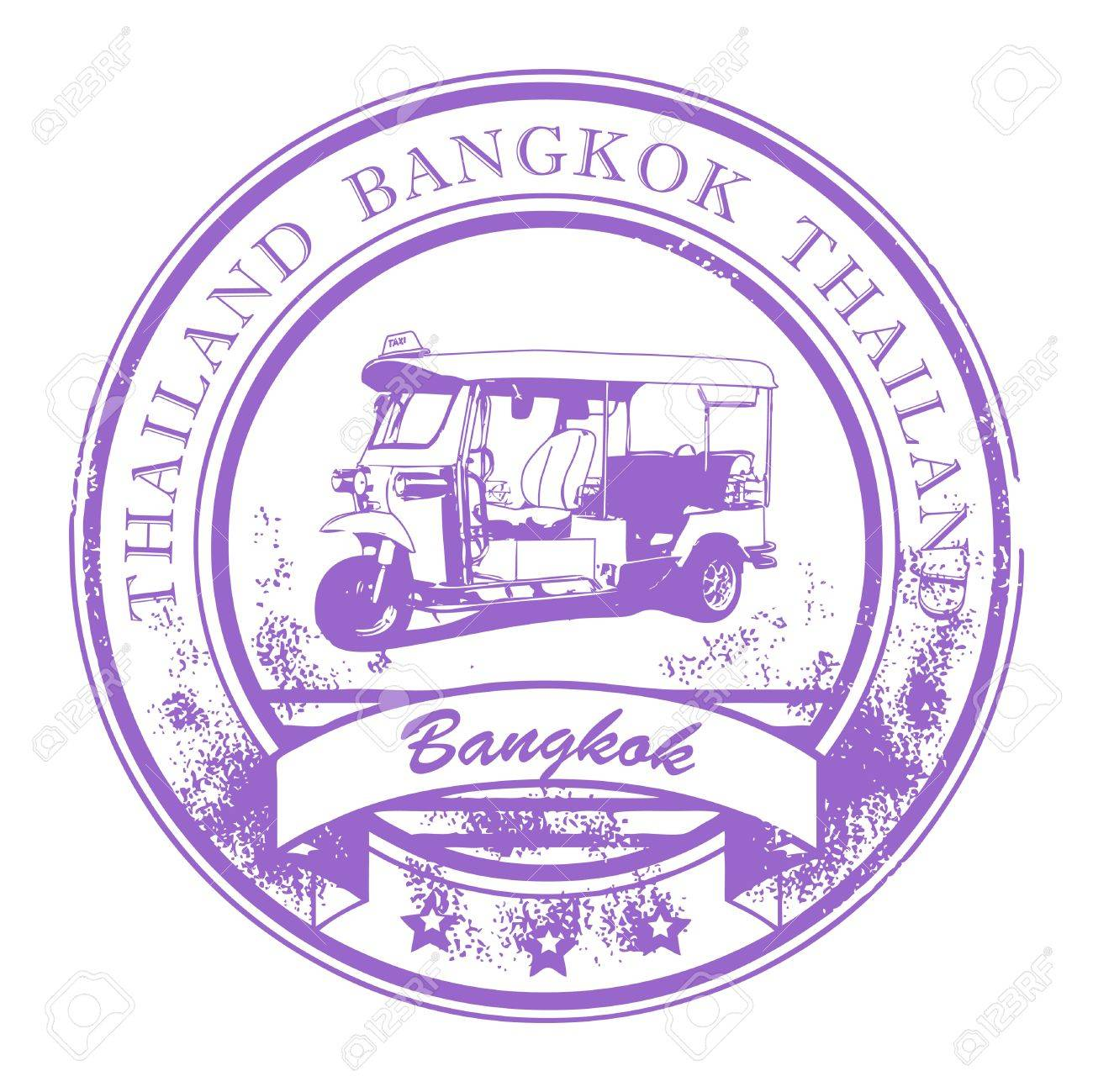 Grunge rubber stamp with Tuk-Tuk taxi and the word Bangkok, Thailand inside Stock Vector - 13946391