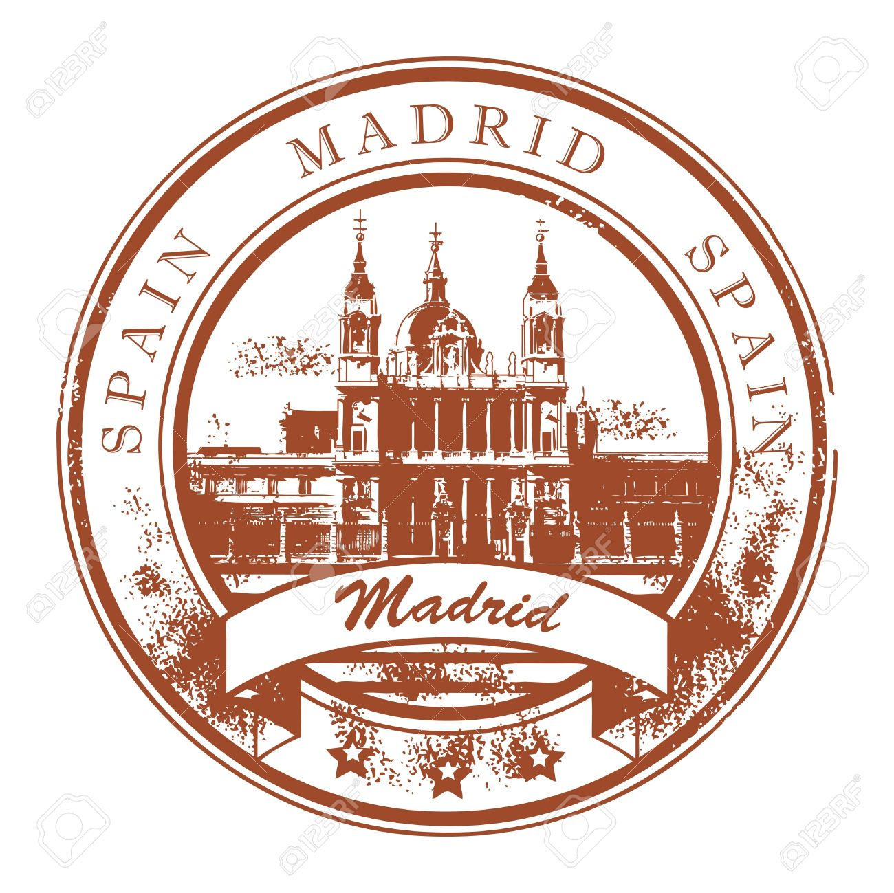 Grunge Rubber Stamp With The Name Of Madrid Capital Spain Written Inside