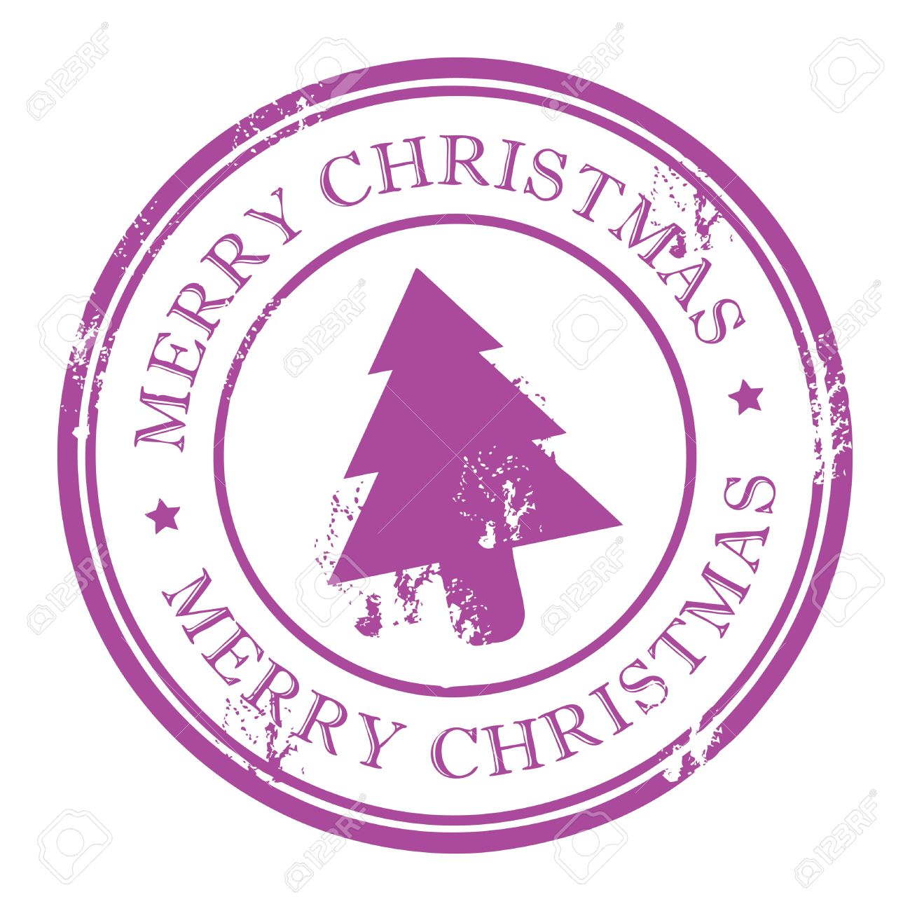 Grunge Stamp With Xmas Tree And The Text Merry Christmas Written ...