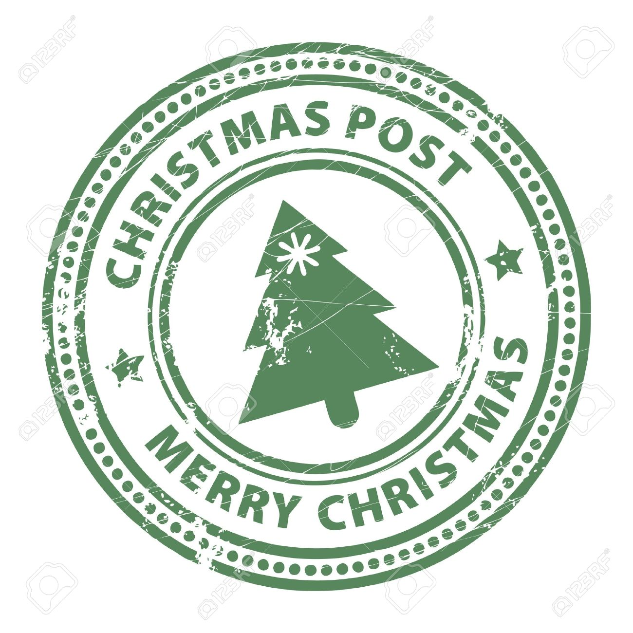 Grunge Stamp With Xmas Tree And The Text Christmas Post And Merry ...