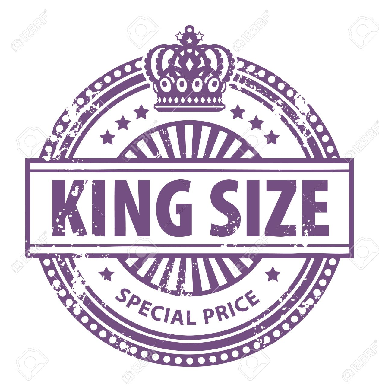 Abstract Grunge Rubber Stamp With Small Stars Crown And The Word King Size Written Inside