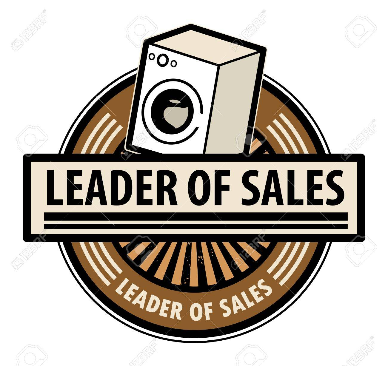 Sticker with the washing machine and word Leader of sales written inside Stock Vector - 14169692