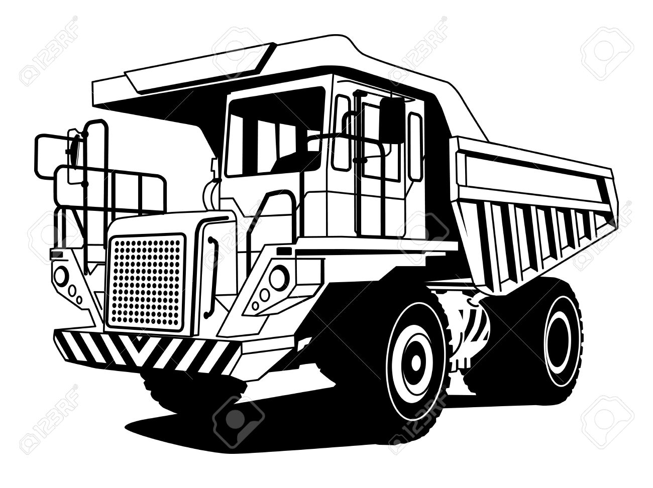 Dump truck hand draw illustration Stock Vector - 14169782