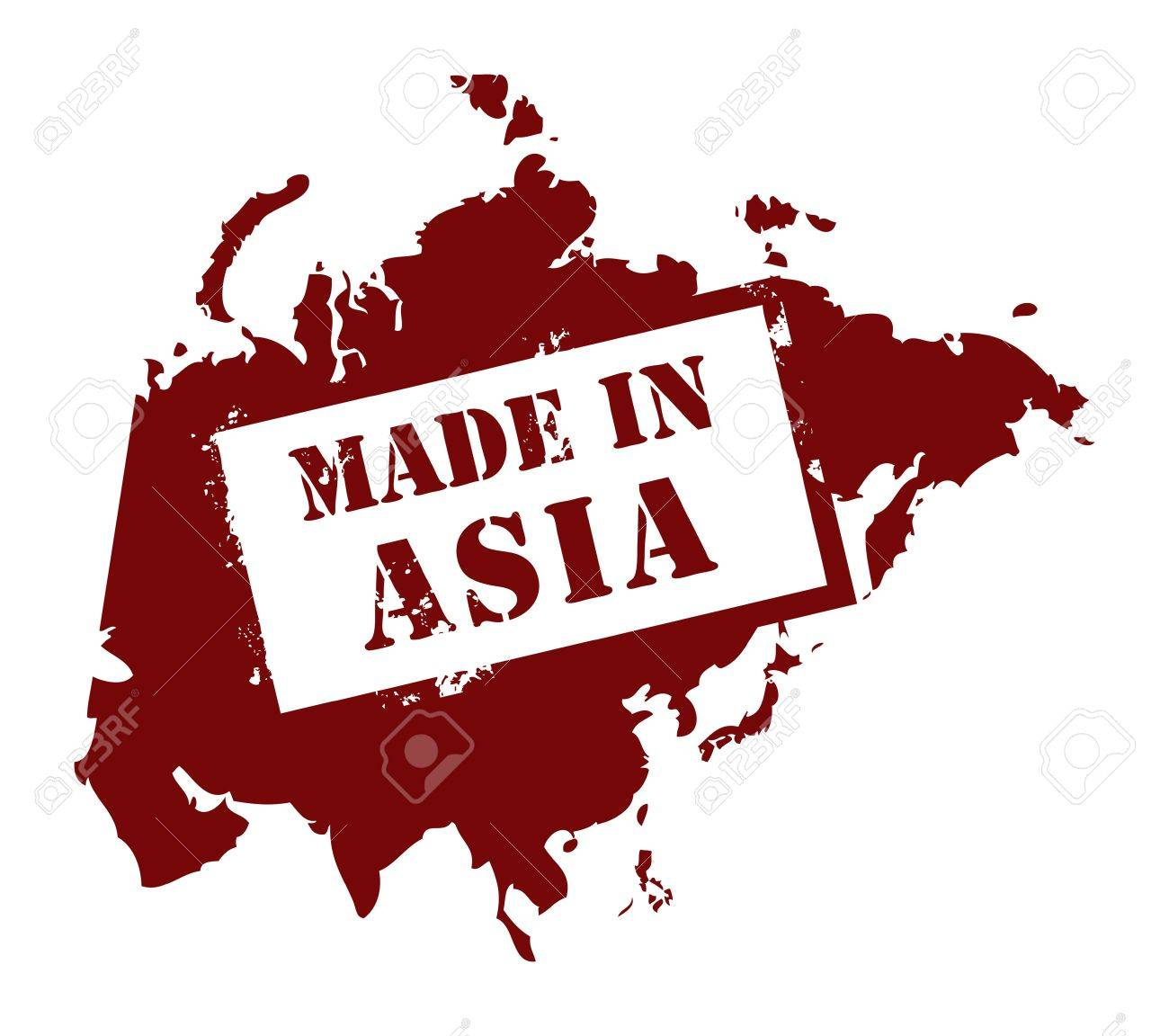 Abstract grunge stamp with the word Made in Asia written inside Stock Vector - 14169886
