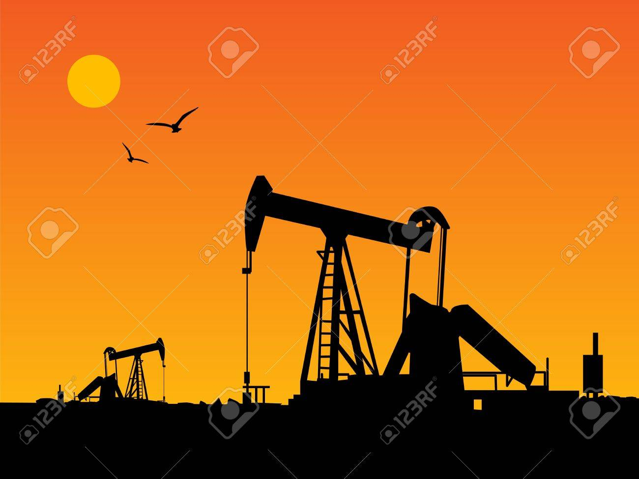 Oil Pump and orange sunset Stock Vector - 14169901
