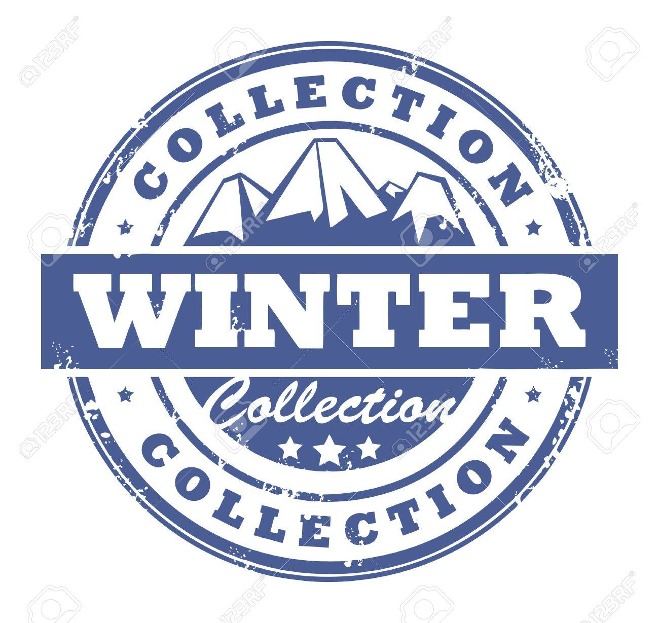 Grunge rubber stamp with mountains and the word Winter Collection inside Stock Vector - 14169911