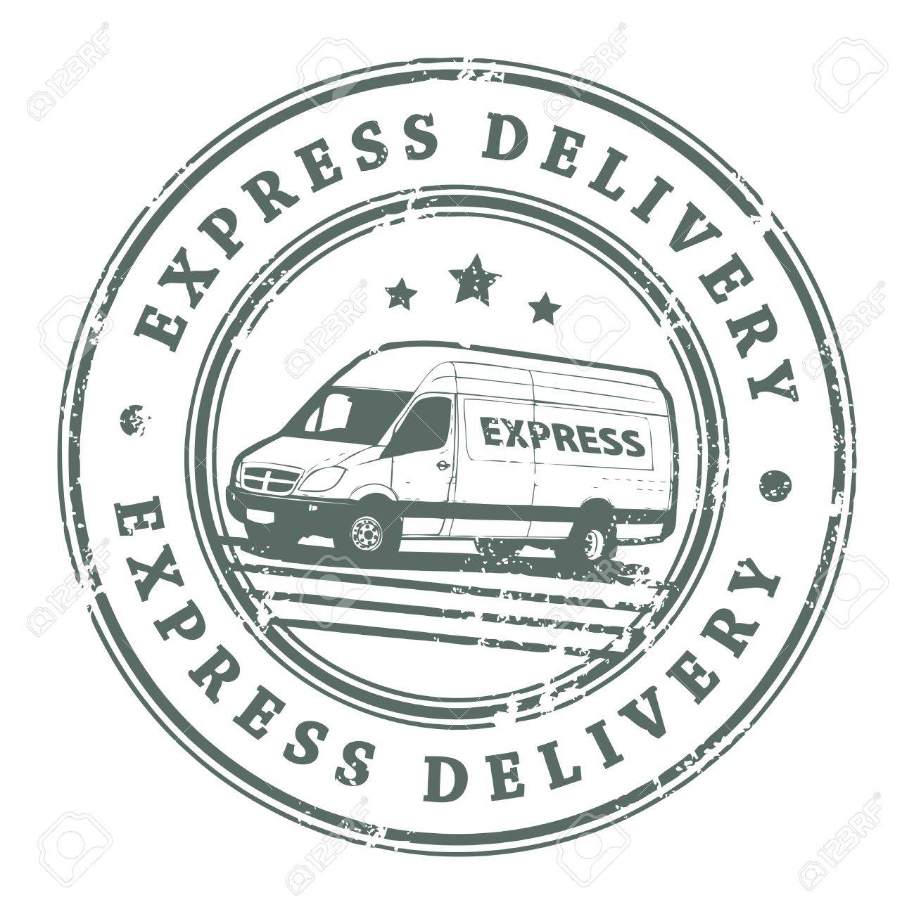 Grunge rubber stamp with a delivery car in the middle and the text express delivery written inside the stamp - 14170019