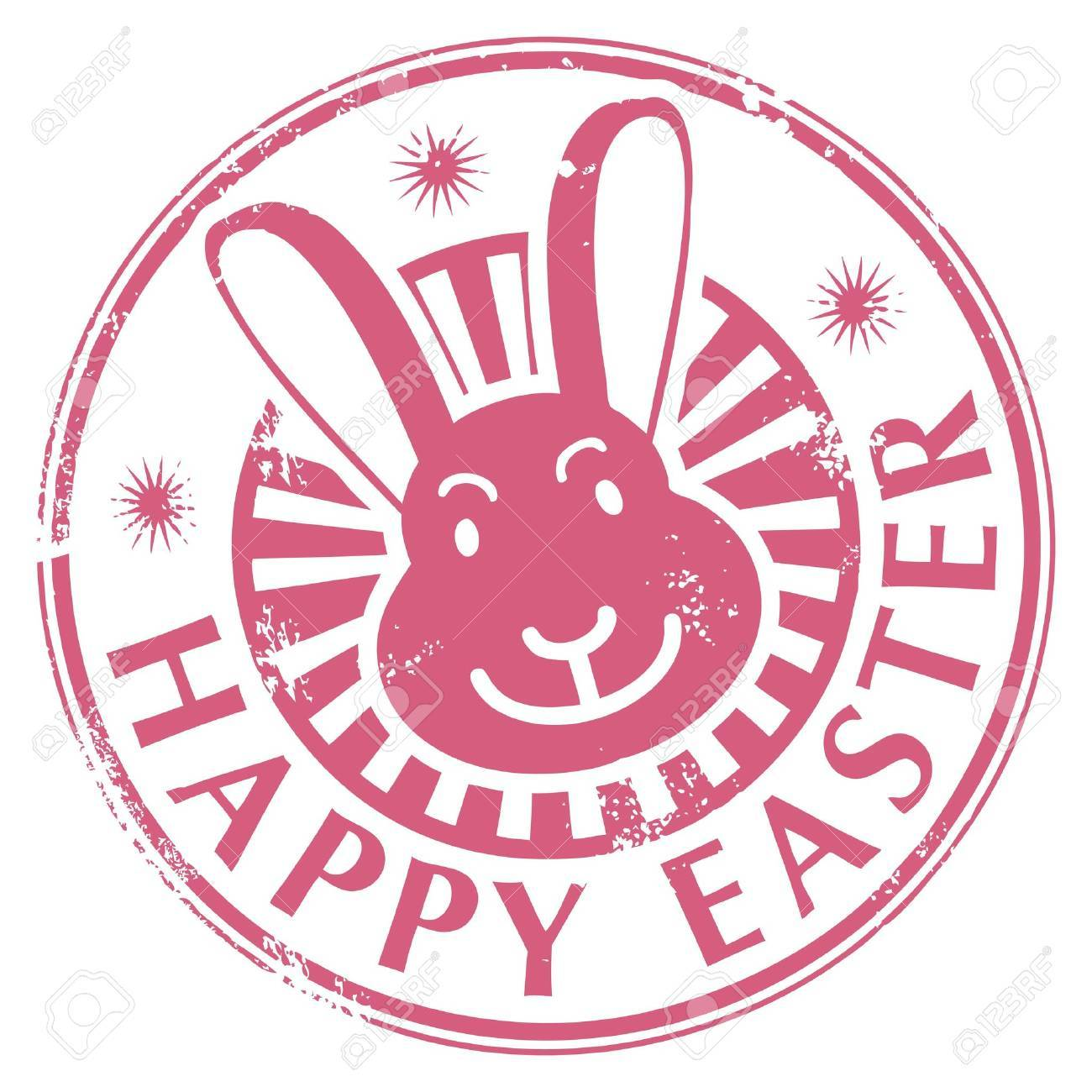 Grunge Rubber Stamp With Bunny And The Text Happy Easter Written Inside Stock Vector