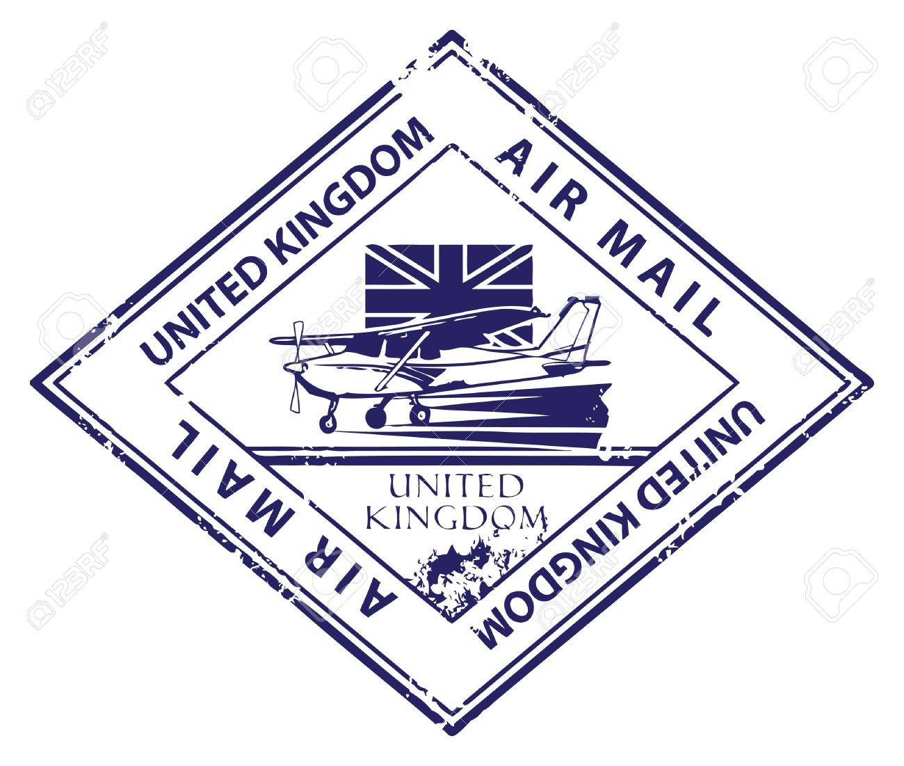 Grunge rubber stamp with airplane and the word Air Mail, United Kingdom inside Stock Vector - 14311268